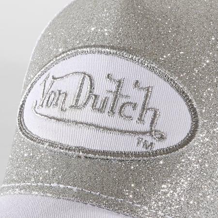 Von Dutch - Casquette Trucker Flak Blanc Argenté