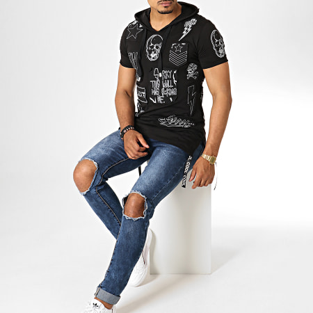 Ikao - Tee Shirt Oversize A Capuche F537 Noir Blanc