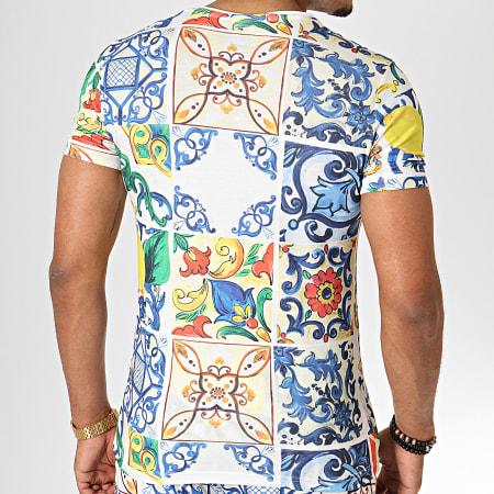 Ikao - Ensemble Tee Shirt Short Jogging F582 Blanc Bleu Jaune