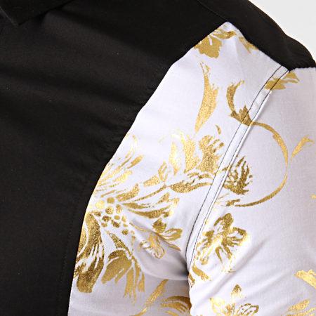 Ikao - Chemise Manches Longues Floral F506 Noir Blanc Doré