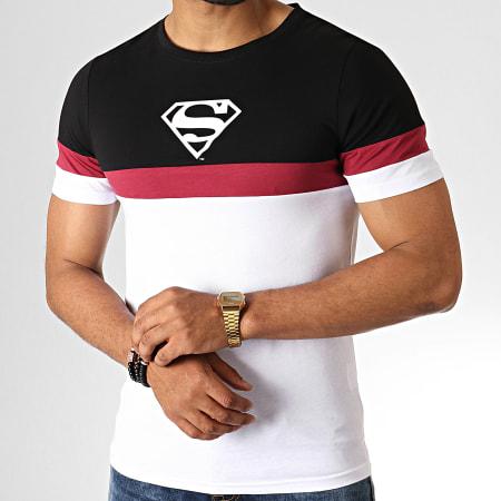 Superman - Tee Shirt Tape Tricolore Blanc Noir Bordeaux