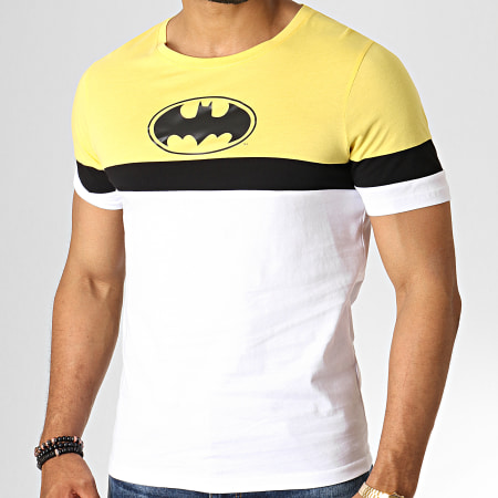 Batman - Tee Shirt Tape Tricolore Blanc Jaune Noir