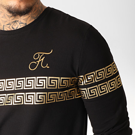 Final Club - Tee Shirt Manches Longues Oversize Renaissance Avec Broderie Or 281 Noir