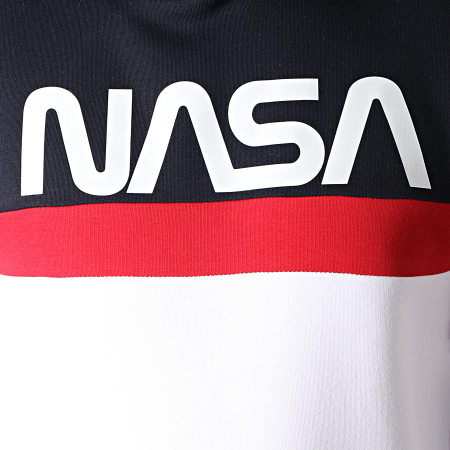 NASA - Sweat Capuche Tape Tricolore Bleu Marine Blanc Rouge