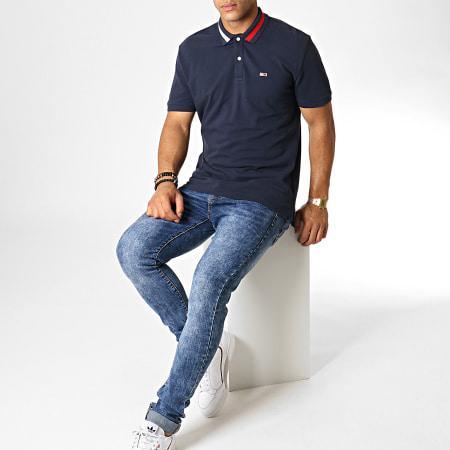 Tommy Hilfiger Jeans - Polo Manches Courtes Flag Neck 6576 Bleu Marine Blanc Rouge