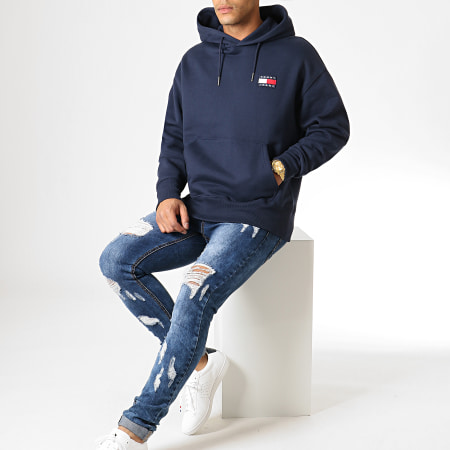 Tommy Hilfiger Jeans - Sweat Capuche Badge 6593 Bleu Marine