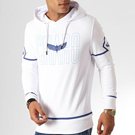 Charo - Sweat Capuche Square WY4791 Blanc Bleu
