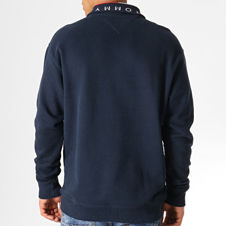 Tommy Hilfiger Jeans - Sweat Col Zippé Solid Zip Mock Neck 6586 Bleu Marine