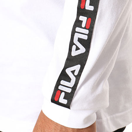 Fila - Tee Shirt Manches Longues A Bandes Fabrice 687234 Blanc Noir Rouge