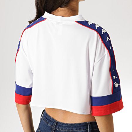 Kappa - Tee Shirt Crop Femme A Bandes Burnia 304PDG0 Blanc Bleu Rouge