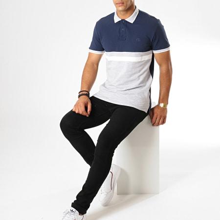 Tom Tailor - Polo Manches Courtes Colorblock 1012814-00-12 Bleu Marine Gris Chiné Blanc