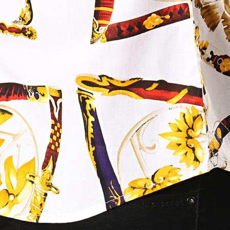 Frilivin - Chemise Manches Courtes Floral DX2158 Blanc Jaune