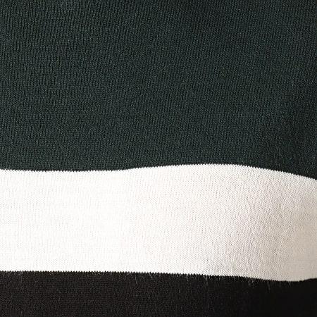 Brave Soul - Pull Maxon Noir Vert Foncé Blanc