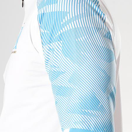 Puma - Tee Shirt Manches Longues OM Zip Training 755831 Blanc Bleu