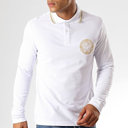 Versace Jeans Couture - Polo Manches Longues Medal Embroidery B3GUA7P6 Blanc Doré