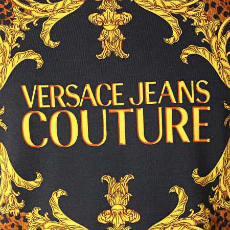 Versace Jeans - Tee Shirt Renaissance Leopard Leobaroque B3GUA7DF Noir Jaune