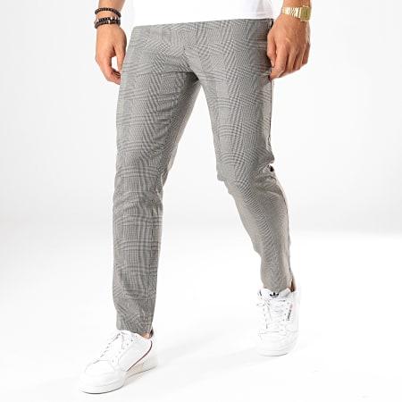 Celio - Pantalon Carreaux Slim Pomacaire3 Gris Clair