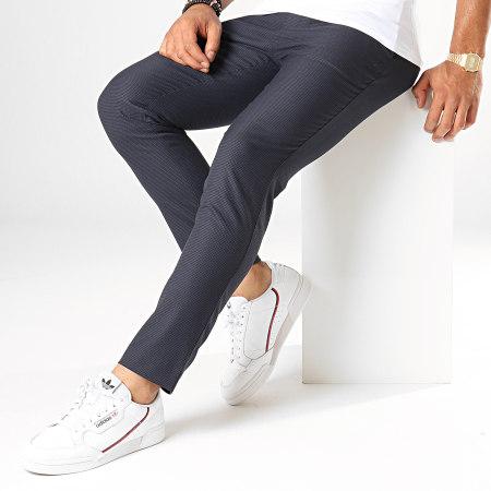 Celio - Pantalon Carreaux Slim Pomacaire2 Bleu Marine