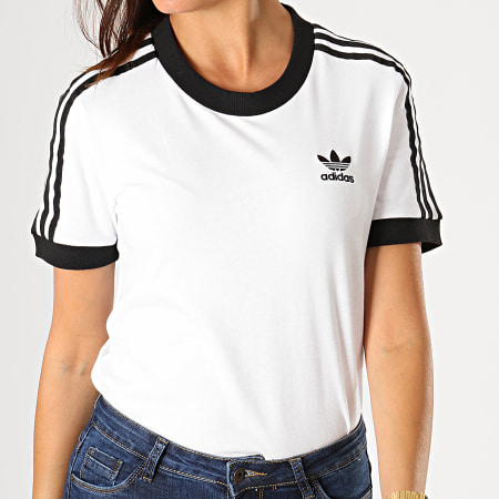 adidas Tee Shirt Femme 3 Stripes ED7483 Blanc Noir