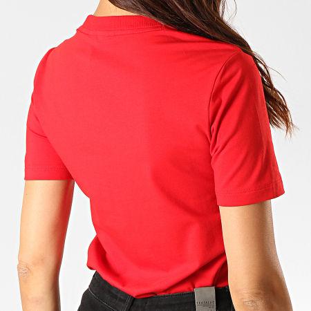 adidas - Tee Shirt Femme Trefoil ED7493 Rouge Blanc