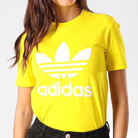 adidas Tee Shirt Femme Trefoil ED7495 Jaune Blanc