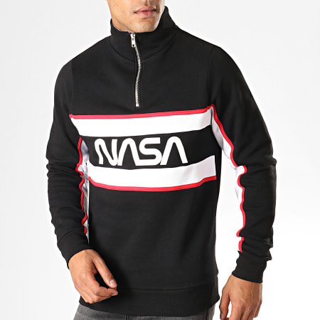 NASA - Sweat Col Demi Zip Worm Logo Noir
