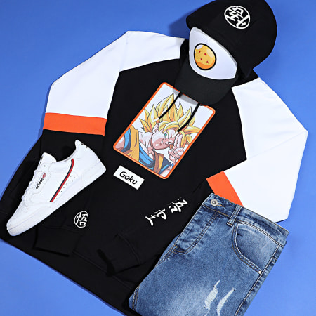 Dragon Ball Z - Sweat Capuche Brodé Goku Noir Blanc