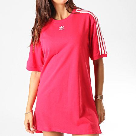adidas Robe Tee Shirt Femme A Bandes ED5863 Rouge Blanc