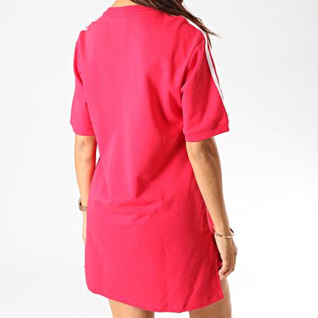adidas - Robe Tee Shirt Femme A Bandes ED5863 Rouge Blanc