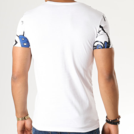 John H - Tee Shirt M-33 Blanc Bleu Marine