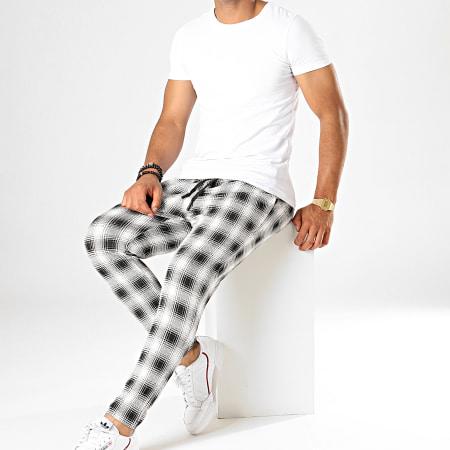 John H - Pantalon Carreaux K4 Blanc Noir