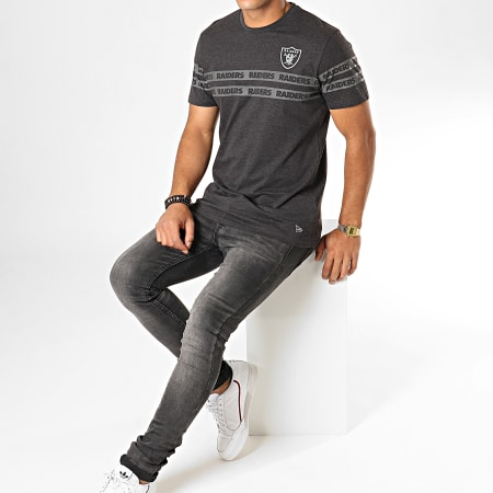New Era - Tee Shirt NFL Tonal Black Oakland Raiders 12033336 Gris Anthracite Chiné