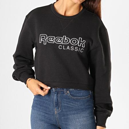 Reebok - Sweat Crewneck Crop Femme Classic FL EB5149 Noir Blanc
