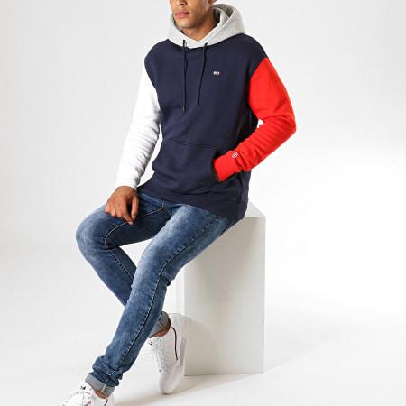 Tommy Hilfiger Jeans - Sweat Capuche Colorblock Classics 7259 Bleu Marine Blanc Rouge