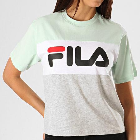Fila - Tee Shirt Femme Allison 682125 Vert Clair Blanc Gris Chiné
