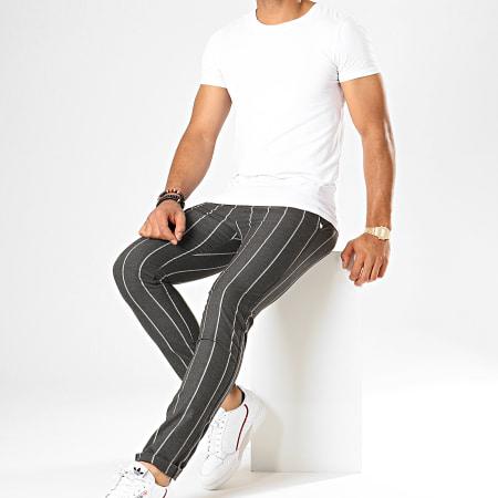 Classic Series - Pantalon Chino A Rayures M-3181 Gris Anthracite Chiné Blanc