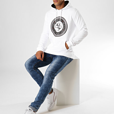 Guess - Sweat Capuche M94Q34-K7ON0 Blanc Noir