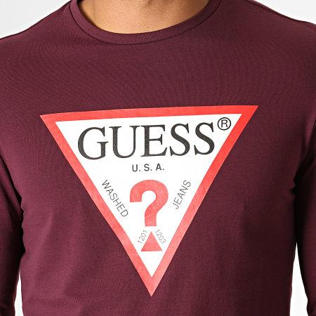 Guess - Tee Shirt Manches Longues M94I43-J1300 Bordeaux Blanc Rouge