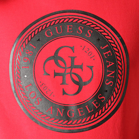 Guess - Sweat Capuche M94Q34-K7ON0 Rouge Noir
