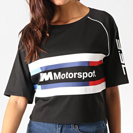 Puma - Tee Shirt Crop Femme A bandes BMW Motorsport Street 595721 Noir