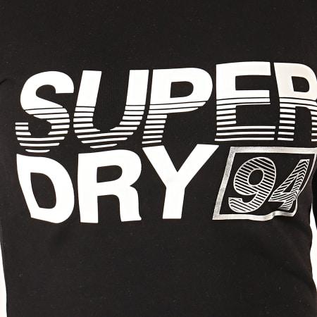 Superdry - Robe Tee Shirt Manches Longues Femme A Bandes Bodycon Graphic Mini W8000004A Noir Blanc