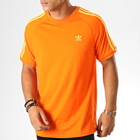 adidas Tee Shirt 3 Stripes EJ9684 Orange Blanc