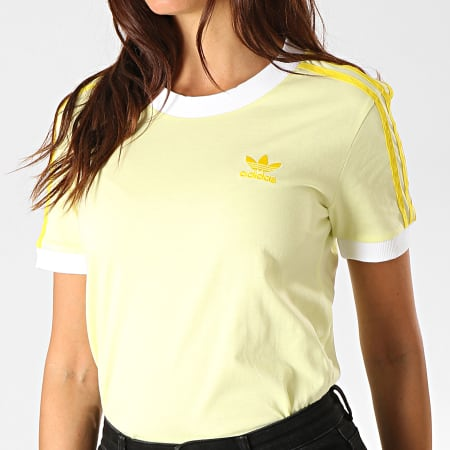 adidas Tee Shirt Femme A Bandes 3 Stripes FK0477 Jaune