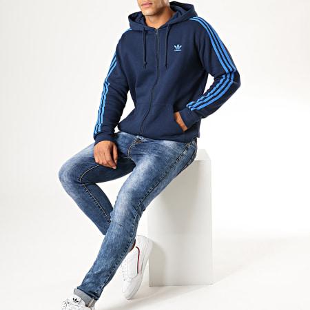 adidas Sweat Zippé Capuche 3 Stripes EK0259 Bleu Marine
