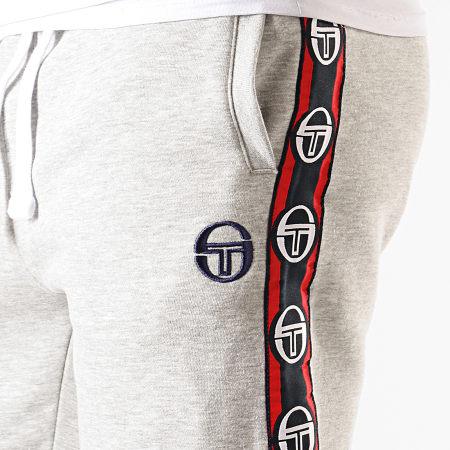 Sergio Tacchini - Pantalon De Jogging A Bandes Dekle 38318 Gris Chiné Bleu Marine Rouge