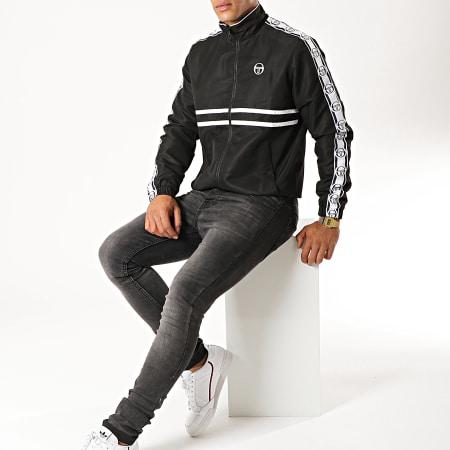 Sergio Tacchini - Veste Zippée A Bandes Doral 38409 Noir Blanc