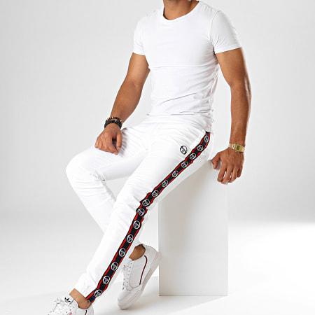 Sergio Tacchini - Pantalon De Jogging A Bandes Doral 38410 Blanc Bleu Marine Rouge