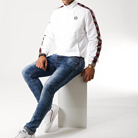Sergio Tacchini - Veste Zippée A Bandes Doral 38409 Blanc Rouge Bleu Marine
