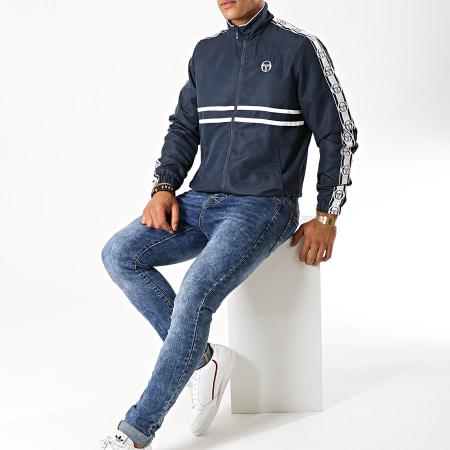 Sergio Tacchini - Veste Zippée A Bandes Doral 38409 Bleu Marine Blanc