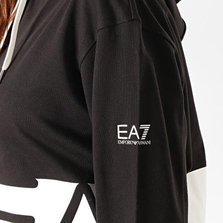 EA7 - Sweat Capuche Crop Femme 6GTM28-TJ39Z Noir Blanc Argenté